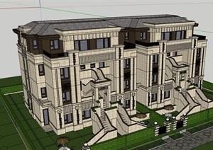 欧式风格完整的小区居住别墅SU(草图大师)模型