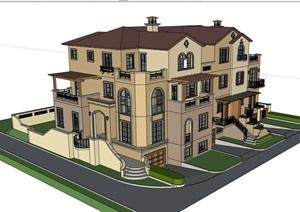 欧式完整的经典小区居住别墅SU(草图大师)模型