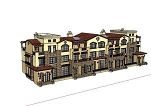 欧式完整的精致小区居住别墅SU(草图大师)模型