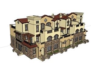 西班牙风格完整的小区居住别墅SU(草图大师)模型
