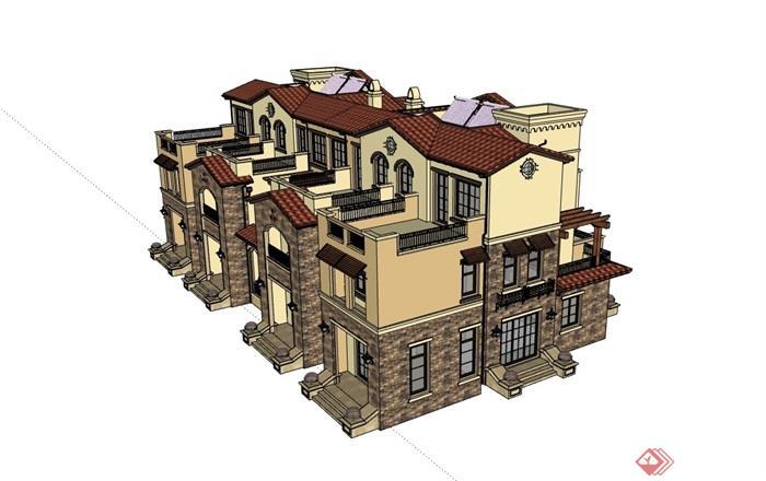 西班牙风格完整的小区居住别墅su模型