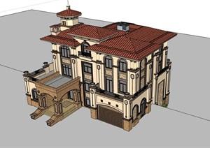 欧式完整的独栋小区居住别墅SU(草图大师)模型