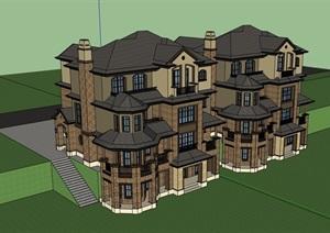 欧式精致完整的小区居住别墅SU(草图大师)模型