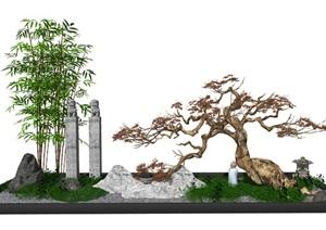 新中式庭院景观景观小品 景观树 SU(草图大师)模型