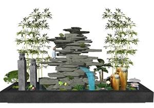 新中式假山流水景观小品SU(草图大师)模型1