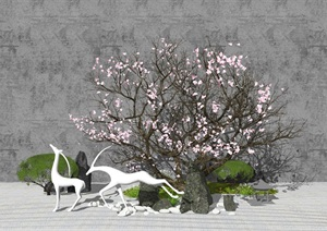 新中式景观小品 庭院小品 枯枝景观雕塑 石头 枯山石SU(草图大师)模型