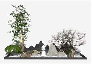 日式枯山石庭院 庭院景观 植物SU(草图大师)模型