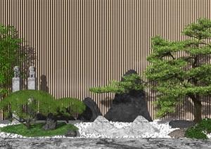 新中式庭院景观 景观小品 景观树 假山造景SU(草图大师)模型