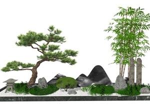 新中式庭院景观景观小品 景观树 假山造景SU(草图大师)模型