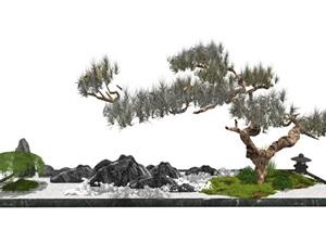 新中式庭院景观 景观小品 景观树 石头造景SU(草图大师)模型