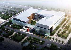 太仓图博中心与文化艺术中心建筑设计方案(附CAD建筑平面图与总平面图)