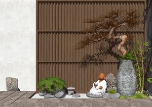 新中式景观小品庭院景观隔断松树佛像石头枯山水SU(草图大师)模型
