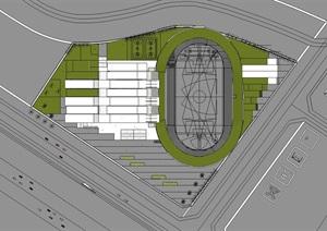 郫县文化中心+体育中心SU(草图大师)模型(附CAD总平面图+方案JPG文本)