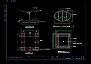 详细的完整树池坐凳设计cad施工图