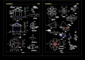 详细的完整景观亭设计cad施工图