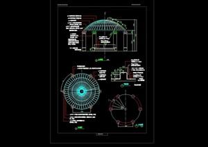 圆形亭子详细设计cad施工图