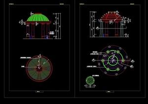 欧式圆形景观亭设计cad施工图