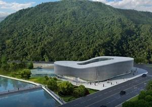 3个攀枝花仁和苴却砚文化博物馆建筑设计方案(附CAD建筑平面图与总平面图)