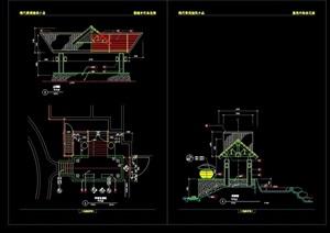 东南亚园林景观节点亭子cad方案图
