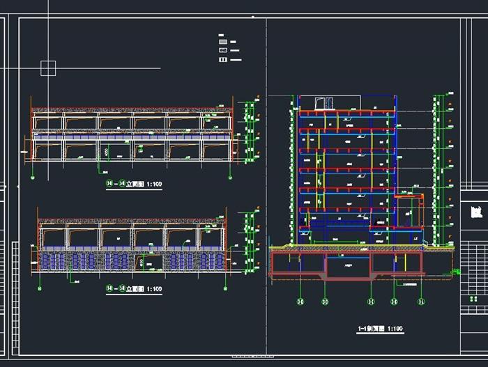 启东市科技馆全专业建筑CAD施工图(水电暖结构建筑)(14)