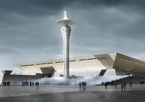 洛阳博物馆建筑设计方案(附CAD建筑平面+立面+剖面图)