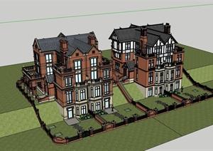 小区详细的完整别墅多层SU(草图大师)模型