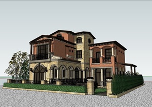 独栋私人完整详细的别墅多层SU(草图大师)模型