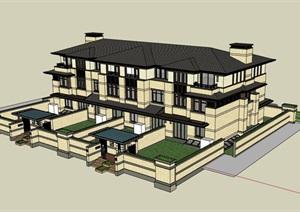 详细独特的别墅多层SU(草图大师)模型