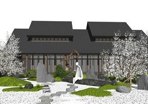日式风格庭院景观 日式枯山水 庭院景观 景小品 建筑 假山石头 鹅卵石 植物 景观树SU(草图大师)模型