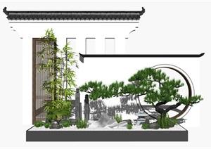 新中式庭院景观景观小品 景墙 景观树 石头SU(草图大师)模型