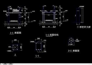 详细的石曲桥素材设计cad方案图