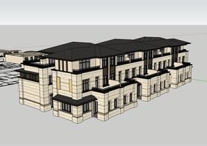 经典的详细的住宅小区别墅SU(草图大师)模型
