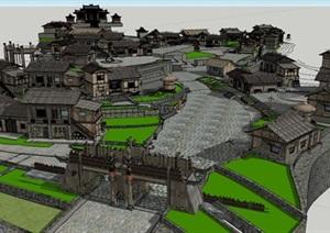 古典少数民族特色农村建筑度假村SU(草图大师)模型