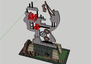 创意工业风重金属风雕塑