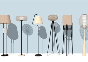 現代落地燈 燈具組合SU(草圖大師)模型