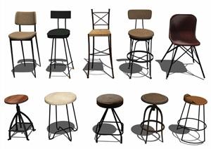 现代吧台椅组合SU(草图大师)模型