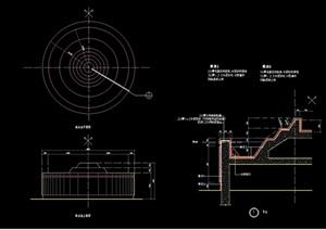详细的整体跌水池素材设计cad施工图