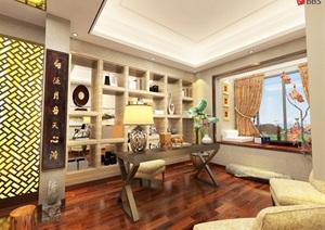 中式古典风格办公室带效果图