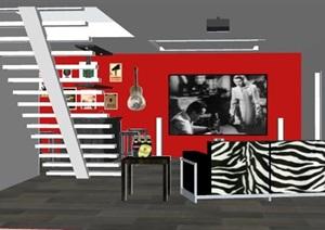 现代风格酒吧室内设计SU(草图大师)模型