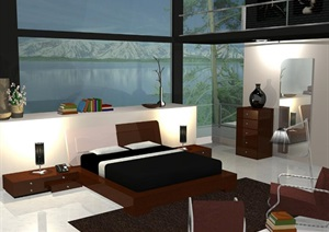现代风格卧室室内设计SU(草图大师)模型