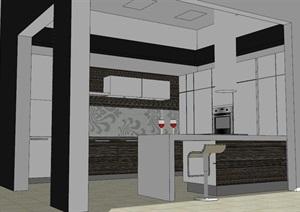 现代风格厨房室内设计SU(草图大师)模型