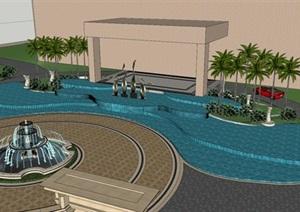 广西五星酒店景观设计SU(草图大师)模型