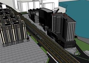 城市风貌改在高架桥公园及建筑SU(草图大师)模型