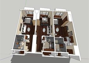 古典风格单身公寓SU(草图大师)模型
