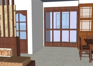 古典风格家装室内客厅设计SU(草图大师)模型