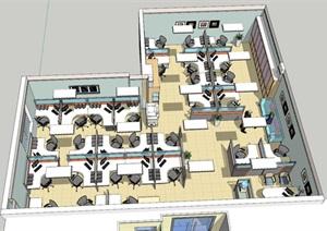 现代风格办公室SU(草图大师)模型设计