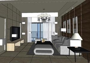 现代风格客厅模型设计SU(草图大师)模型
