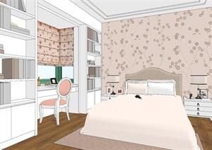 完整的独特小清新风格儿童房设计SU(草图大师)模型