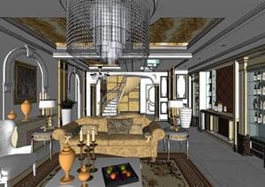豪华欧式风格双层别墅室内设计