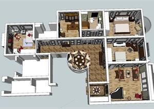 豪华欧式风格双层别墅SU(草图大师)模型设计
